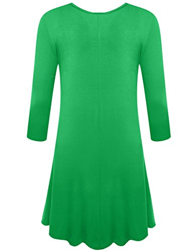 Simple Flare T Plain Shirt 3 4 BELAROI Green Women's Casual Spring Loose Sleeve Dress AW8npn14