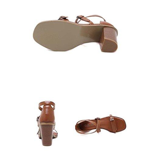SHEO sandalias de tacón alto Señoras Europa y los Estados Unidos salvaje áspera con la venda de tacón alto con sandalias con bandas Marrón