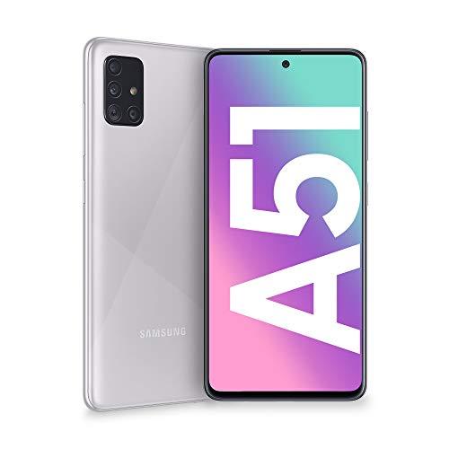 Samsung Galaxy A51 – Dual SIM, Smartphone de 6.5″ Super AMOLED (4 GB RAM, 128 GB ROM, cámara Trasera 48.0 MP + 12.0 MP + 5.0 MP + 5 MP, cámara Frontal 32 MP) Color Plata Metálico [Versión española]