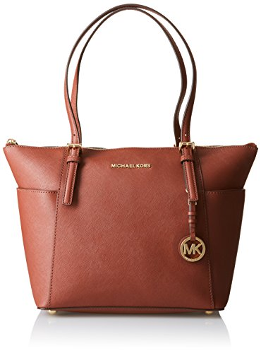 MICHAEL Michael Kors Jet Set Top-Zip Tote, Color Brick (Michael Kors Handbags In Luggage)