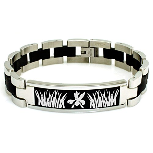 Stainless Steel 2nd Gen Scizor Pokémon Engraved Black ID Bracelet