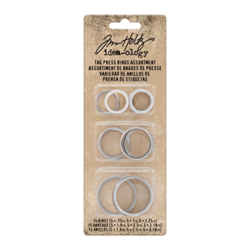 Tim Holtz Idea-ology Tag Press Rings 15-Pack, Three Assorted Sizes 3/4 Inch, 1 Inch, and 1-1/4 Inch, Antique Nickel (TH93576)
