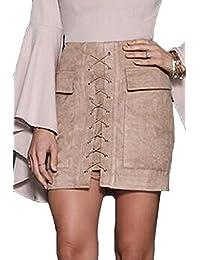 Prograce Women's Vintage Lace Up High Waist Bodycon Faux Suede Mini Skirt