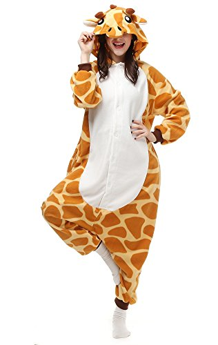 EcoOnesie Christmas Animal Lounge Wear Giraffe Onesie Anime One Piece Pajamas Halloween Costume Cosplay Adult Size Medium ()