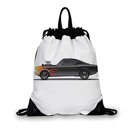 Cars Nice Drawstring Bag,Custom Design Muscle Car with Supercharger and Flames Roadster Retro Styled Decorative For hiking,7.4