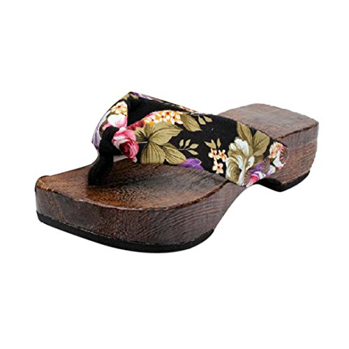 Bovake Summer Women Sandals, | Platform Wooden Slippers | Bohemia High Heels Women Ankle Shoes Flat Wedges Shoes Lovely Footwear Flip Flop Sandal | No Rubbing | Foot Toes Comfortable To Wear Black