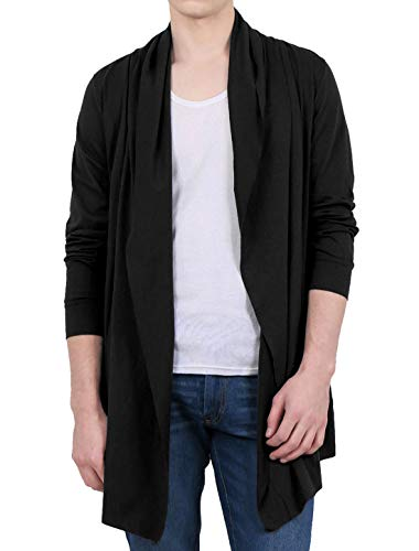 uxcell Men Shawl Collar High-Low Hem Lightweight Longline Cardigan Sweater Black S (US 34)