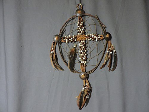 CrossCatcher – A Beaded leather lacework Cross encircled in a twisted willow branch dream catcher (CC05)