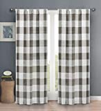 Blackout 365 Aaron Country Plaid Gingham Checkered Darkening Grommet Window Curtains Pair Drapes for Bedroom