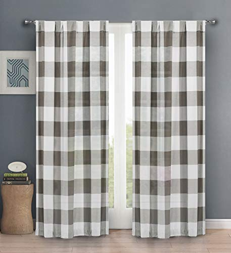Blackout 365 Aaron Country Plaid Gingham Checkered Grey Darkening Grommet Top Window Curtains Pair Drapes for Bedroom, Living Room-Set of 2 Panels, 37