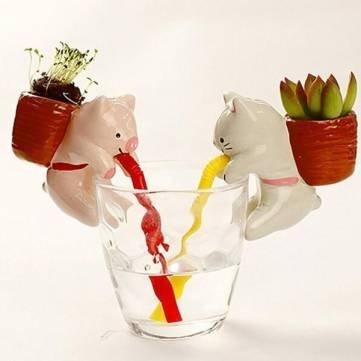 Mini Auto Water Absorption Animal Potted Plants Office Desktop Plant Kyz Kuv