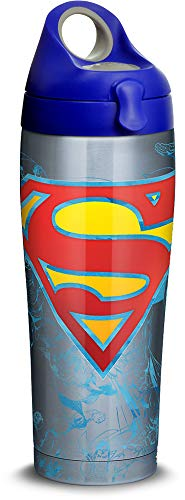 Tervis 1312117 DC Comics - Superman Lineage Stainless Steel Insulated Tumbler with Lid, 24 oz Water Bottle, Silver