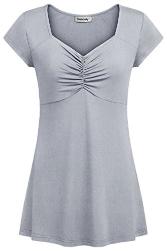 (Ouncuty Cap Sleeve Shirts for Women, Summer Ladies Elegant Pleated Neck Blouse Casual Business Tunic Spring Cowl Cross V Neck Flattering Tops 2XL)