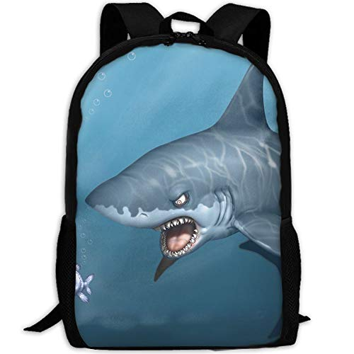 Shark Under The Sea Ocean School Backpack - Unisex Student Stylish Laptop Book Bag Daypack For Teen Boys And Girls by SAPLA