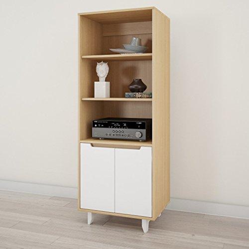 Maple Audio Tower - Nexera Nordik Bookcase/Media Cabinet, White and Natural Maple