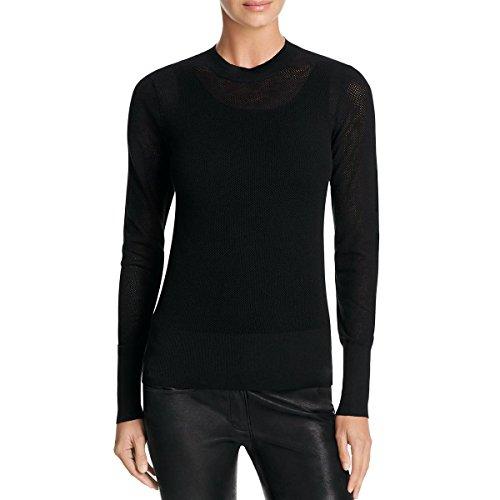 Dkny Wool Cardigan (DKNY Womens Mesh Ribbed Trim Pullover Sweater Black M)