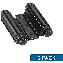 Rok Hardware Double Action Steel Spring Hinge, Black SUPER VALUE 2-PACK (2 Hinges)