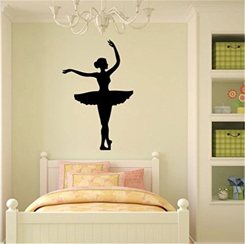 cosopa Vinyl Wall Decals Quotes Sayings Words Art Deco Lettering Inspirational Ballet Ballerina Silhouette for girls room