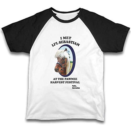 Parks Recreation Li'l Sebastian Toddler Baby Girls Boys Short Sleeve Shirts Raglan Shirt Baseball Tee Cotton T-Shirt Black