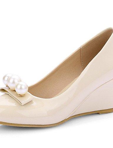 ZQ Zapatos de mujer-Tac¨®n Cu?a-Tacones / Punta Redonda-Tacones-Vestido-Semicuero-Negro / Rosa / Beige , pink-us10.5 / eu42 / uk8.5 / cn43 , pink-us10.5 / eu42 / uk8.5 / cn43 pink-us6.5-7 / eu37 / uk4.5-5 / cn37