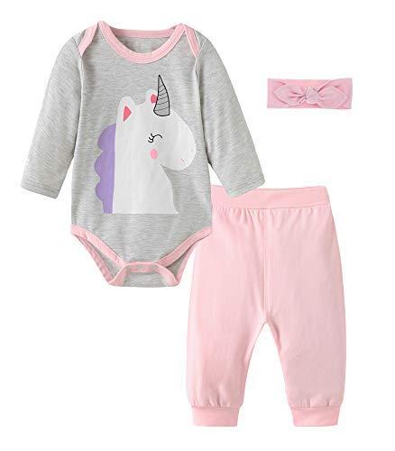 Fiream Baby Girls Cotton Bodysuit Longsleeves Unicorn Cartoon Clothing Sets, BA0406, 0-6 Months