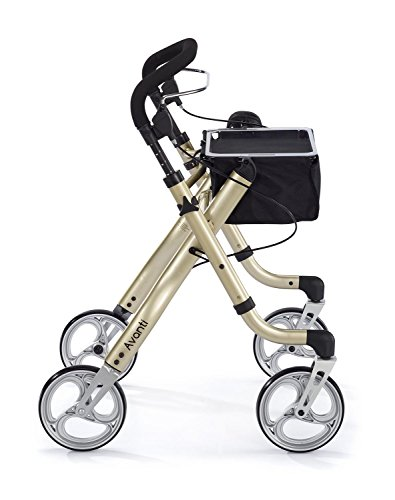 Comodità Avanti Unique One or Two-Hand Operation Lightweight Rolling Walker / Rollator (Metallic Champagne) ()