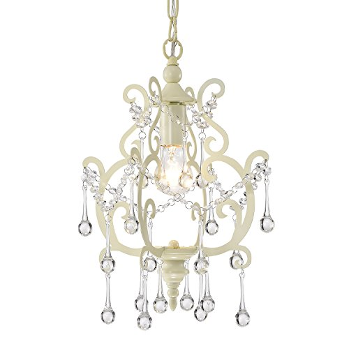 Edvivi 1-Light Ivory White Chandelier Pendant Light Fixture with Raindrop Crystals | Glam Lighting