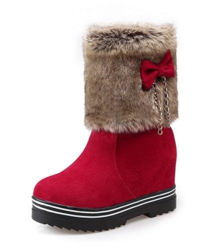 Botas Caña con Alto Cordones Sin Imitado Rojo Baja AgooLar Lazos Gamuza Mujeres Tacón xTFvqgz