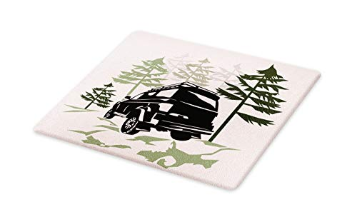 Lunarable Travel Cutting Board, Off Road Car Silhouette with Trees Adventure Theme, Decorative Tempered Glass Cutting and Serving Board, Small Size, Sage Green Evergreen Charcoal Grey Pale - Top Charcoal Evergreen