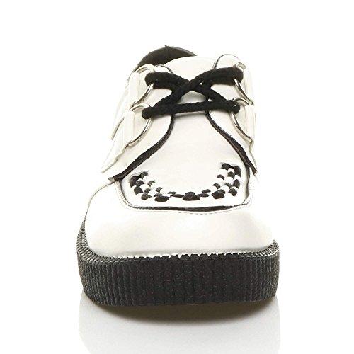 Da Design Con Stile Gotico Opaco Donna Bianco Plateau Basse Zeppa Punk Scarpe Lacci Sd6wYqS