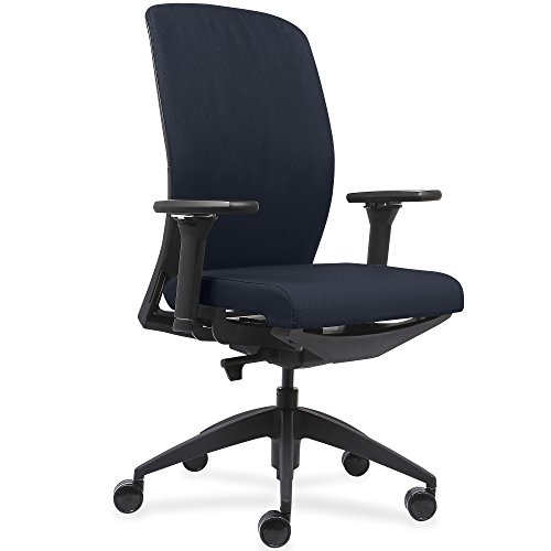 Lorell Made in America Executive Chairs with Fabric Seat & Back, Black, LLR83105 (Dark Blue)