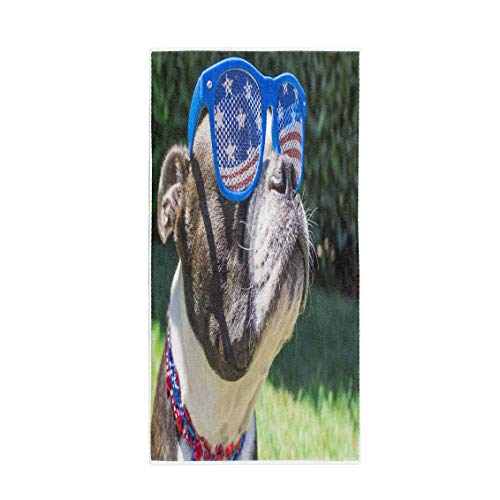 es Bath Towel Boston Terrier Dog Wearing Stars and Stripes Sunglasses on Fourth of July Soft Absorbent Travel Guest Decor Hand Towels Washcloth for Bathroom(One Side Printing) ()