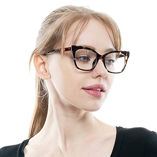904c69b1e4dc SOOLALA Vintage Stylish 53mm Lens Oversized Reading Glass Big Eyeglass Frame,  Leopard, 1.5