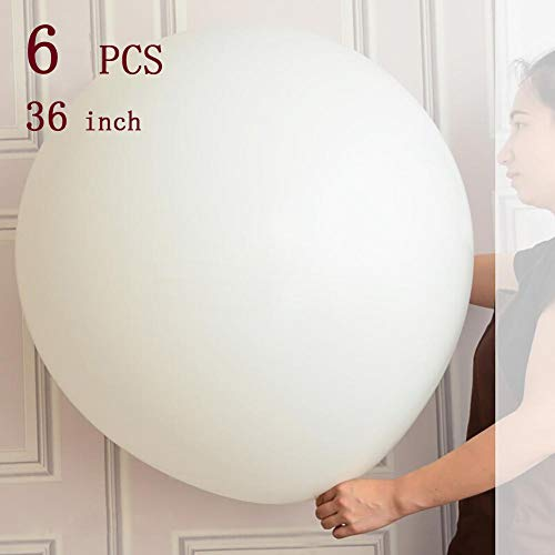 Giant Balloons 36-Inch white balloons, Big latex balloons (Premium Helium Quality) for Party/Birthdays/Wedding/Festivals Christmas/Photo Shoot and Event Decorations, 6 -