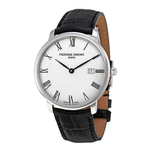 - Frederique Constant Men's 'Slimline' Automatic Stainless Steel and Leather Casual Watch, Color:Black (Model: FC-306MR4S6)