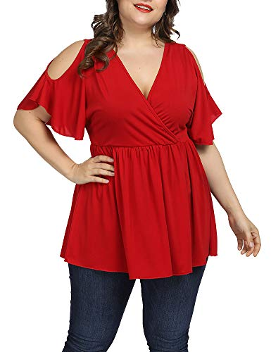 Allegrace Women Plus Size Summer Cold Shoulder Tops Wrap V Neck Flowy Ruffle Sleeve Shirts Red 4X ()