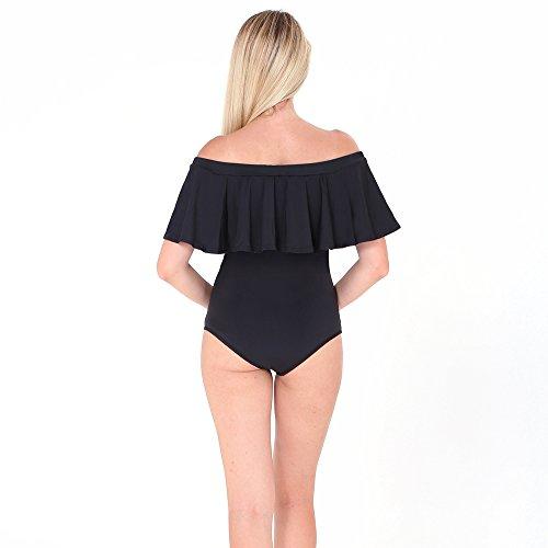 intero da in costume Nero foglia da Bikini sexy volant bagno di loto con donna bagno con Costume off Sholder gtwqxd6x