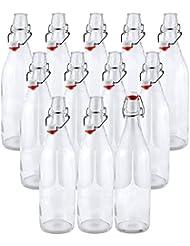 Estilo Swing Top Easy Cap Clear Glass Beer Bottles, Round, 16 oz, Set of 12