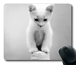 """White cat cute animals pet Customized Mousepad Oblong Design Mouse Pad Picture Printing in 220mm*180mm*3mm (9""""*7"""") -82682"""