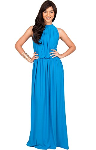 KOH KOH Plus Size Womens Long Sexy Sleeveless Bridesmaid Halter Neck Wedding Party Guest Summer Flowy Casual Brides Formal Evening A-line Gown Gowns Maxi Dress Dresses, Blue Teal Quartz 2XL 18-20 ()