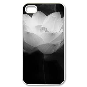 Customized Cover Case with Hard Shell Protection for Iphone 4,4S case with Beautiful lotus lxa#892643