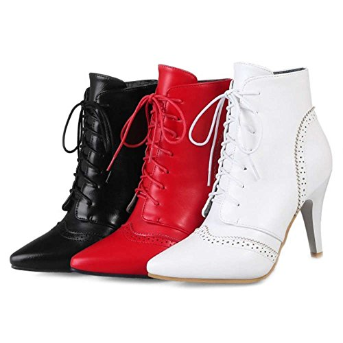 Toe Ankle Up Boots and Avaialble Colors and Heel 3 Size Women Pointed Lace Boots With Kitten With Plus Smilice Red 0BzvC