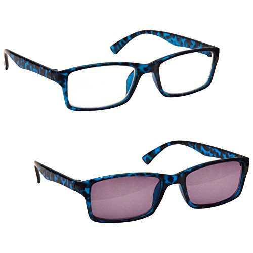 The Reading Glasses Company Blue Tortoiseshell Near Short Sighted Myopia Distance & Sun Distance Glasses Value Twin Pack Mens Womens UVSMR2092BL - Sun Company Glasses