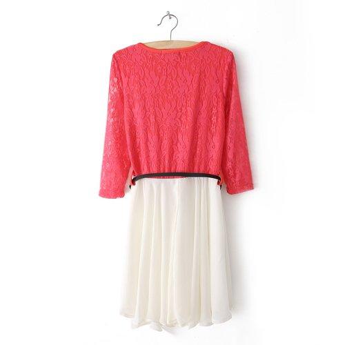 Little Hand Womens Summer Prom Casual Mini Short Chiffon Stripe Stitching Lace Dress