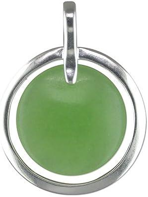 Colgante de plata de ley con disco de jade verde en círculo