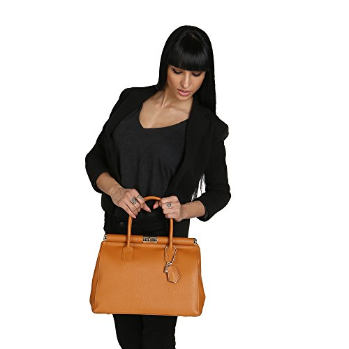 Italy Chicca Borse in 35x28x16 Cm Handbag Woman with Tan in Strap Genuine Made Leather Shoulder ZZqPr