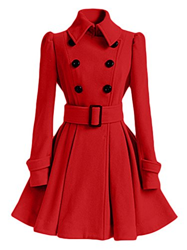 AUSZOSLT Women Swing Double Breasted Pea Coat with Belt Slim Fit Mid-Long Lapel Dress Coat Red - Womens Peacoat Red