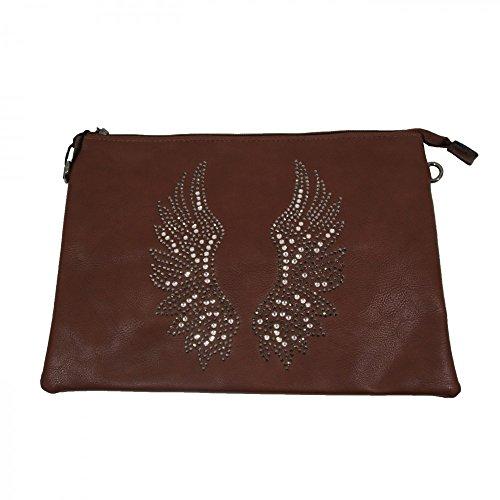 Shopping-et-Design-Pochette da sera, motivo: ali d'angelo, simil-legno, colore: marrone cuoio