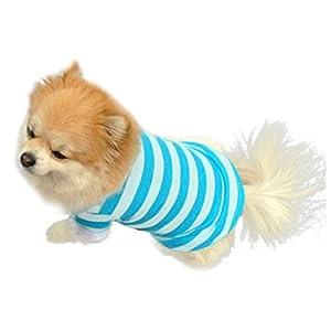 Wakeu Pet Supplies Pet Dog T-Shirt Clothes Lapel Stripe Puppy Summer Apparel (XS, Blue)
