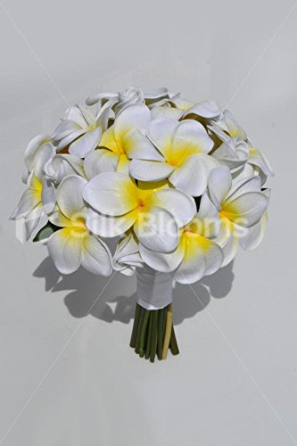 Exotic-Artificial-Fresh-Touch-Yellow-Centred-Frangipani-Bridal-Bouquet